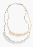 - Mixed Matte Metal Tube Necklace - Gold/Silver - 