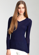 - V-Neck Asymmetric Sweater Top - Blue Print - S