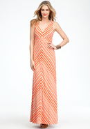 - Striped V-Neck Maxi Dress - Hot Coral/Cement - X