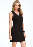 - V-Neck Asymmetric Drape Dress - Blk - M