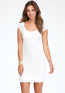 - Open Stitch Raglan Sleeve Dress - White - Xs