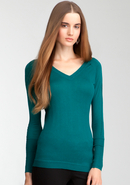 - V-Neck Asymmetric Sweater Top - Everglade - M
