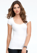 - Textured Back Cutout Tee - White - M/L