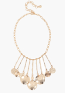 - Hammered Coin Statement Necklace - Gold - 1Sz