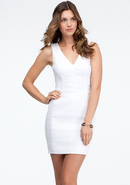 - V-Neck Shoulder Dress - White - 10