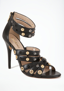 - Regina Studded Leather Sandal - Blk - 8