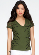 - V-Neck Sheer Tiger Print Tee - Rifle Green - Xxs