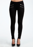 - Four Zipper Leggings - Blk - L