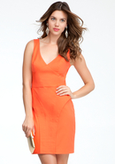 - Empire Waist V-Neck Peplum Dress - Hot Coral - 0