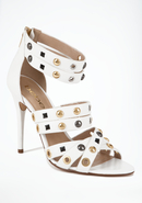 - Regina Studded Leather Sandal - White - 6