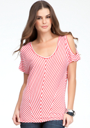 - Striped Cold Shoulder Knit Top - White/Hot Coral