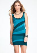 - Wave Colorblock Bodycon Dress - Caribbean Sea -