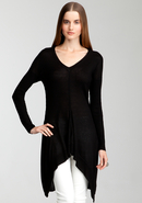 - Cascade Hem V-Neck Sweater Tunic - Blk - Xs