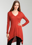 - Cascade Hem V-Neck Sweater Tunic - Bossa Nova -