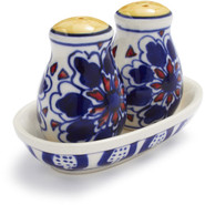 Blue Floral Ceramic Salt and Pepper Shakers, 3-Pie