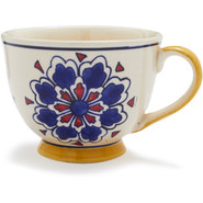 Blue Floral Ceramic Cup, 12 oz.