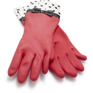 Cleaning Gloves, Red with Black Polka Dot Cuff