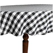 Black &amp; White Checked Tablecloth