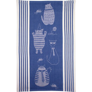Blue Fat Cat Jacquard Kitchen Towel