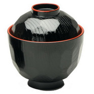 Black Miso Soup Bowl with Lid, 8 oz.