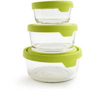 Round Glass Storage Containers, Set of 3