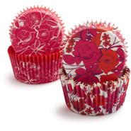 Orange and Pink Floral Bake Cups, Set of 48