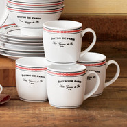 'Bistro de Paris' Porcelain Mugs, Set of 4