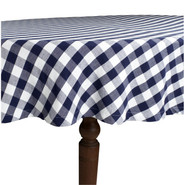 Blue &amp; White Checked Tablecloth, 90  round