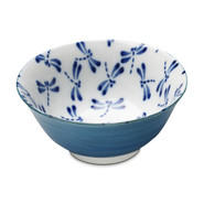 Blue and White Dragonfly Soup Bowl