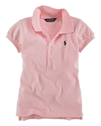 Childrenswear Girls' Mesh Polo Knit Top - Sizes S-