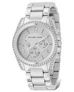 Stainless Steel Chronograph Watch with Clear Stone