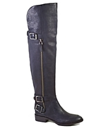 Over The Knee Flat Moto Boots - Paulina