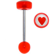 Red Acrylic RED HEART Logo Barbell Tongue Ring