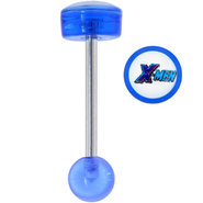 X-MEN Official LOGO Blue Acrylic Barbell Tongue Ri