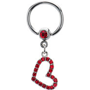 Ruby Red Jeweled Hollow Heart Captive Ring