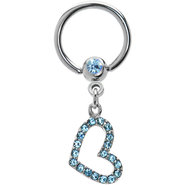 Aqua Jeweled Hollow Heart Captive Ring