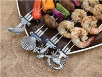 Set of 4 Double Prong Coastal Skewers