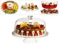 12.25-in. 4-in-1 Pedestal Cake Stand with Dome Cov