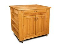 The Deep Storage Island Kitchen Cart with Flat Doo