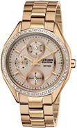 Eco-Drive Rose Gold-Tone Crystal Ladies Watch FD10