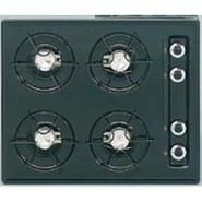 24  wide cooktop in black, with four burners and g