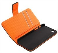 Black / Orange Leather Case For Apple iPhone 5