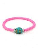 .          Vinyl Trade Bead Skull Bracelet in Neon Pink - Neo