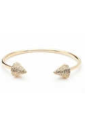 Double Header Spike Pave Bracelet - Gold