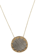 Two Tone Engraved Sunburst Pendant - Gold/Silver