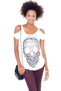 Skull Chain Open Shoulder Tee in White Medium