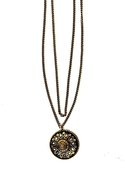 . Tibet Aztec Sunburst Necklace - Brass
