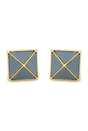Sky Blue Leather Pyramid Stud Earrings - Blue/Gold