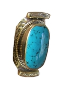 . Katy Single Stone Saddle Ring in Turquoise - Tur