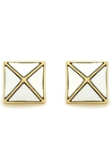 White Leather Pyramid Stud Earrings - Gold with Wh